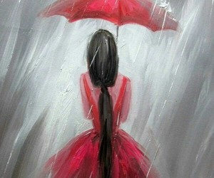 drawing, rain, and red image