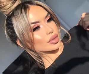 brown eyes, fashion, and makeup image