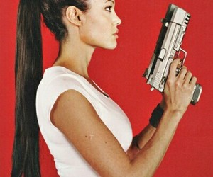 Angelina Jolie, lara croft, and gun image