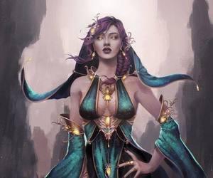 magic woman and pink hair green dress image