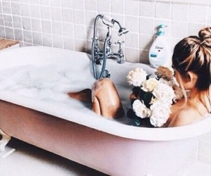 bath, flowers, and pink image