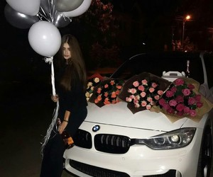 balloons, car, and flowers image