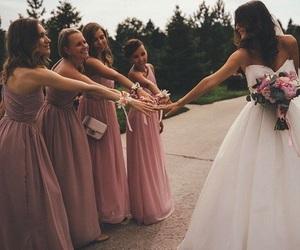 wedding, dress, and bridesmaids image
