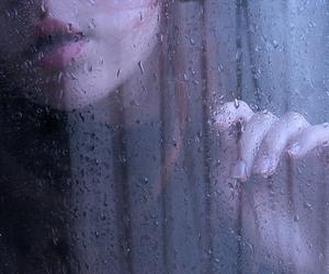 rain, girl, and drops image