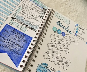 blue, bullet journal, and drawing image