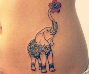tattoo, elephant, and flower image