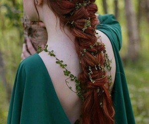 colorful hair, hair, and red image