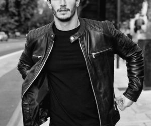biker, black and white, and jacket image
