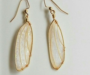 earrings, gold, and wings image