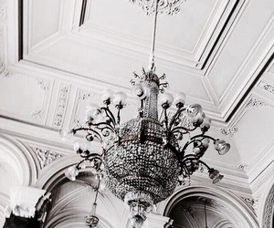 white, chandelier, and interior image