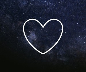 galaxy, heart, and sky image