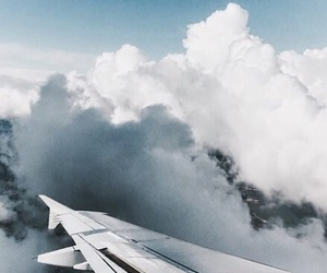 clouds, travel, and plane image