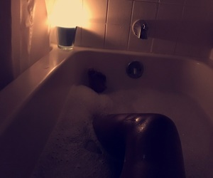 bubble bath, candle, and chilling image