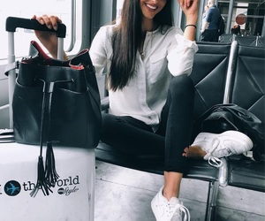 bag, black hair, and hairstyle image