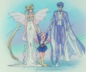 sailor moon, neo queen serenity, and king endymion image