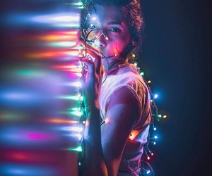girl, colors, and lights image