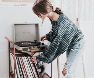 music, girl, and vinyl image