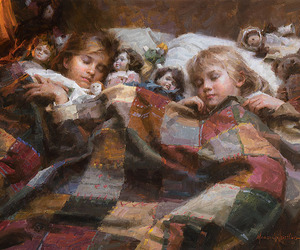 bed, children, and cozy image
