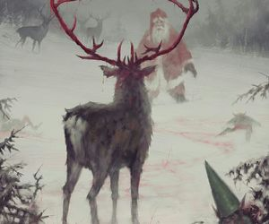 deer, horns, and forest creature image
