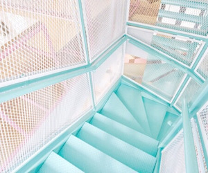 blue, stairs, and pastel image