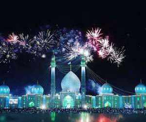 fireworks, mosque, and night image