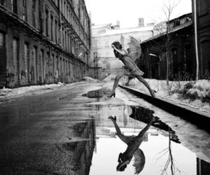 photography, black and white, and rain image