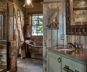 vintage, bathroom, and rustic image