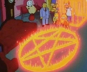 fire, satan, and simpsons image