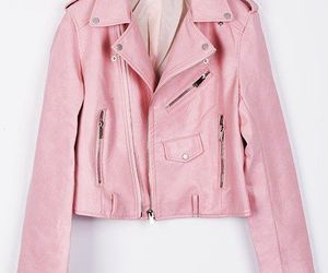 pink, jacket, and leather image