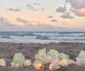 beach, flowers, and sky image