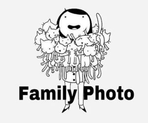 cartoon, cat, and family image