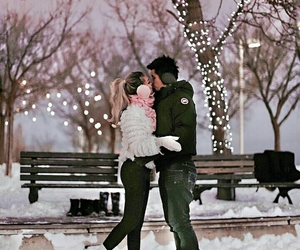 couple, romantic, and winter image