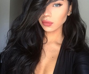 blue eyes, pouty lips, and brunette image