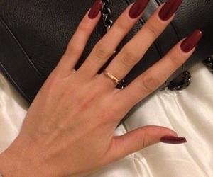 nail polish, nails, and red image