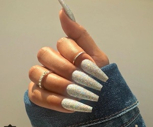 nails, glitter, and rings image