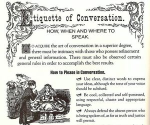 conversation, etiquette, and thoughts image