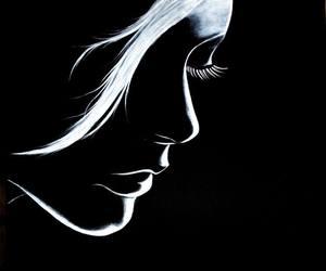 black white face drawing and eyelashes hair lips image