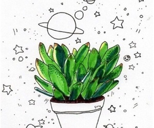drawing, plants, and universe image