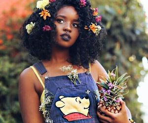 flowers, black, and hair image