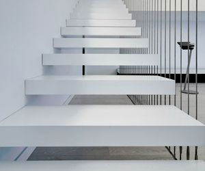 white stairs and modern stairs image