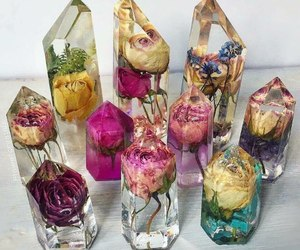 flowers, crystal, and rose image