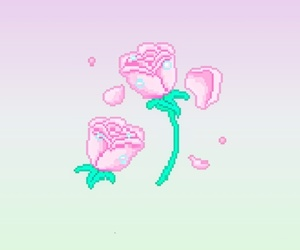 gradient, pixel, and rose image