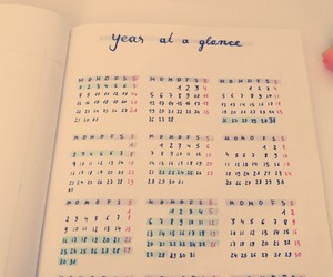 calendar, bullet journal, and year at a glance image