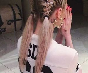 blond, hairstyle, and braid image