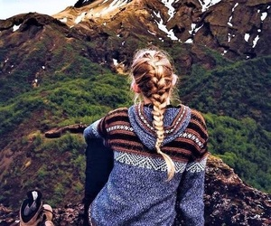 girl, mountains, and adventure image