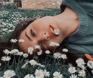 eyes, flower, and girl image