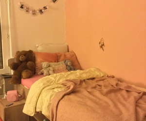 baby pink, bed, and pink image