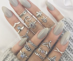 grey, nails, and rings image