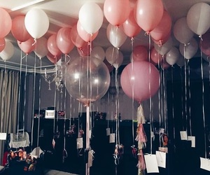 balloons, birthday, and pink image