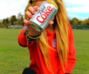 girl, blonde, and coke image